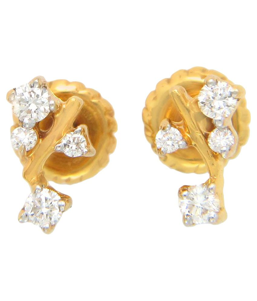 Popleys 18k BIS Hallmarked Yellow Gold Diamond Studs