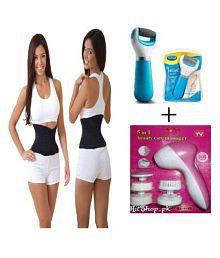 Ibs Sauna Slim Waist Tummy Abdomen Belt FACIAL KIT Massager SWEAT BELT,FOOT Pedi Spin CARE Pack Of 3 Regular Pack Of 3 - 655027533881
