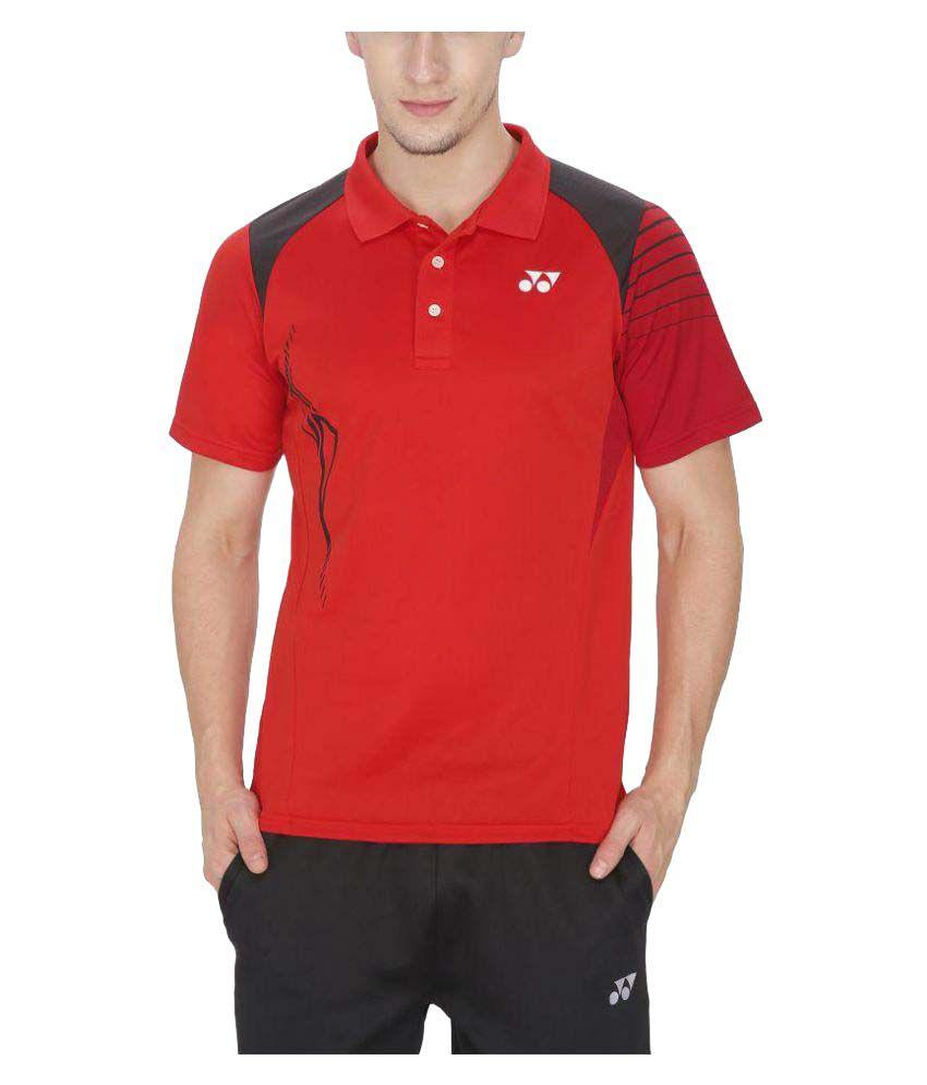 Yonex Red Polyester Polo T-Shirts