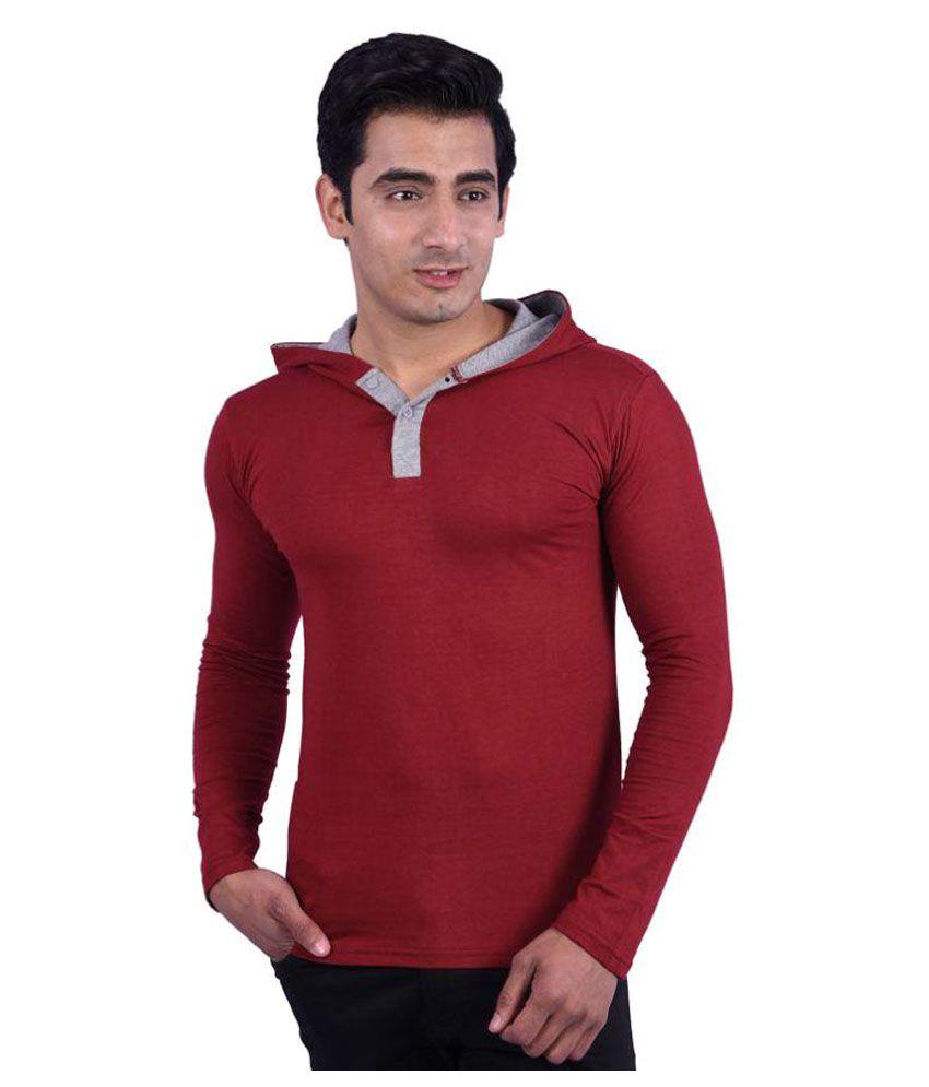 Rap Fabrics Maroon Hooded T-Shirt