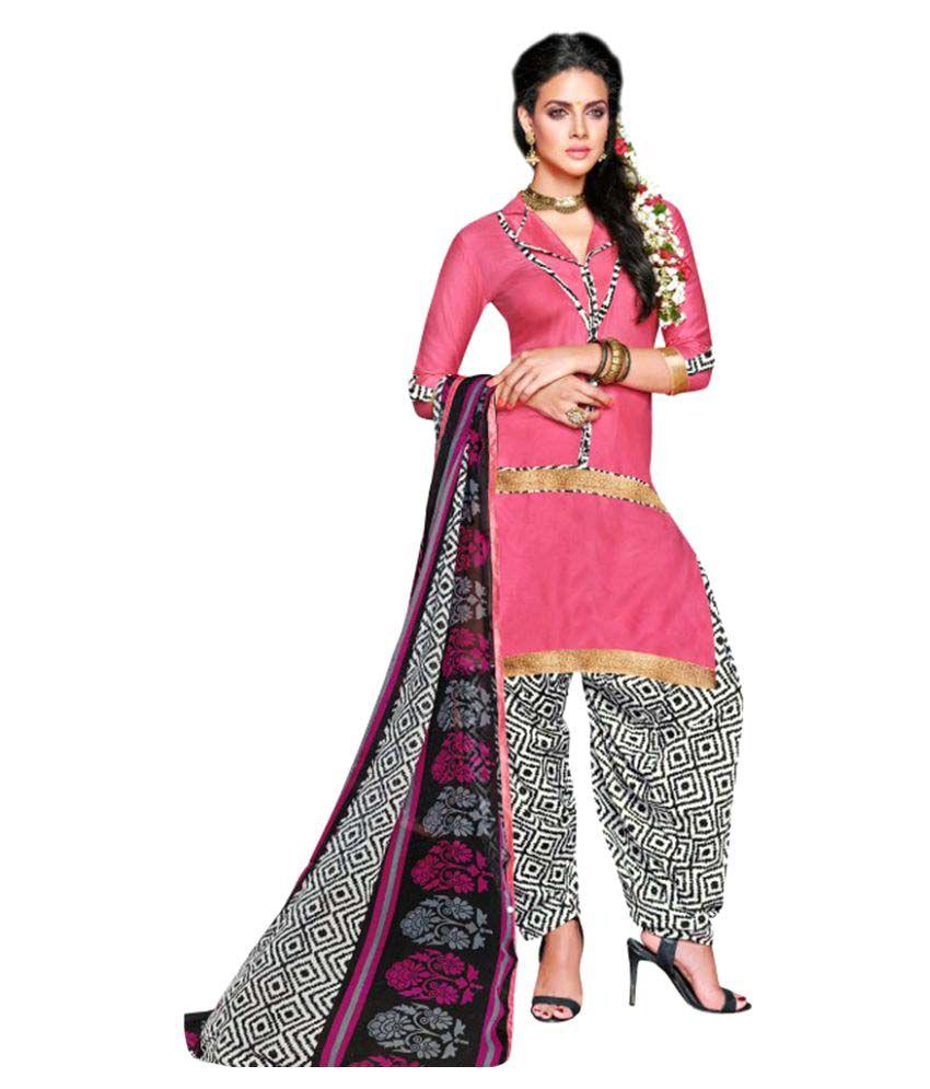 Snapshopee Pink Chanderi Dress Material