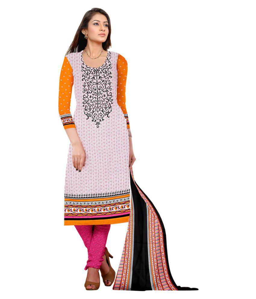 Snapshopee Multicoloured Chanderi Dress Material