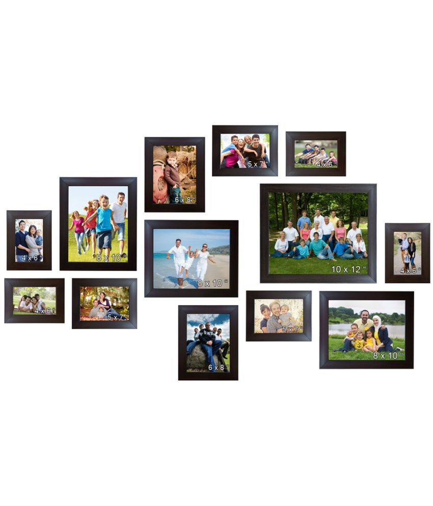 Acrylic Wall Hanging Brown Photo Frame Set- Pack Of 13( 1 - 10
