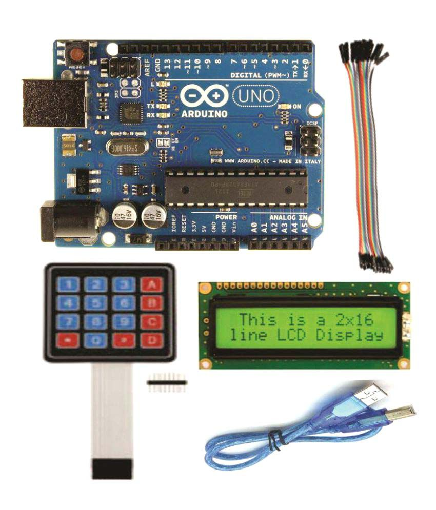 Adraxx Arduino UNO With Pack of LCD, Usb cable, Keypad, 20 female to female  connector