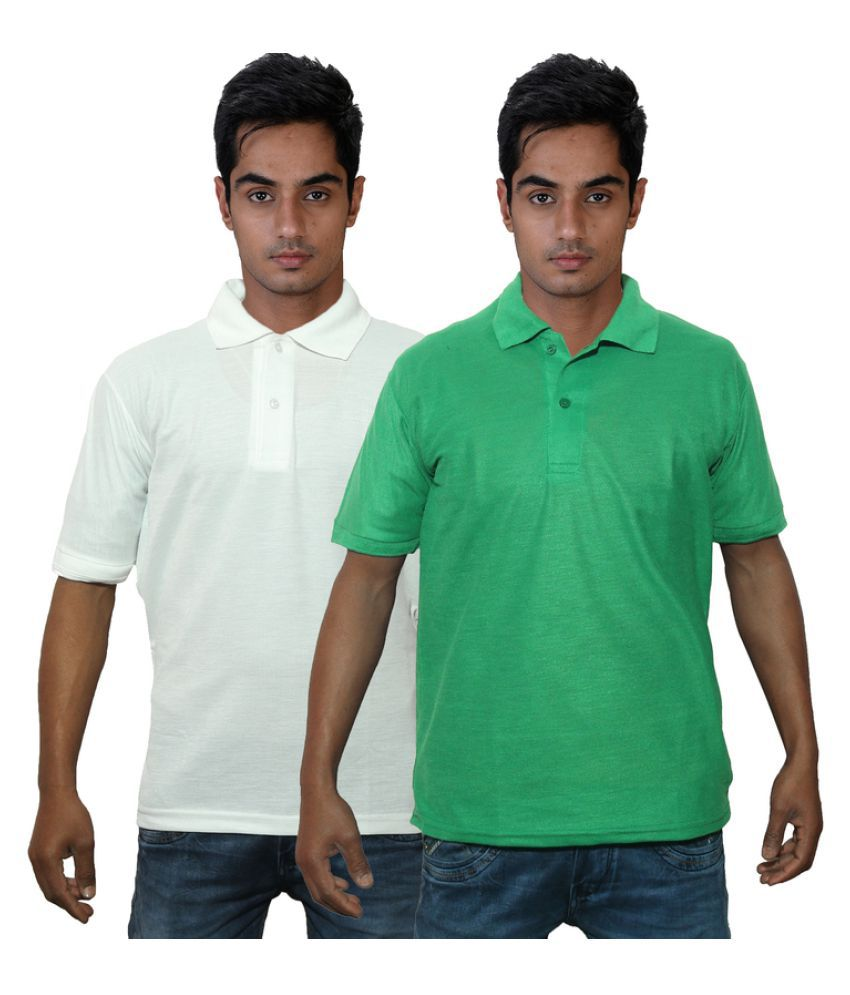 Dfnk Atlanta White Cotton Polo T-shirt Pack of 2