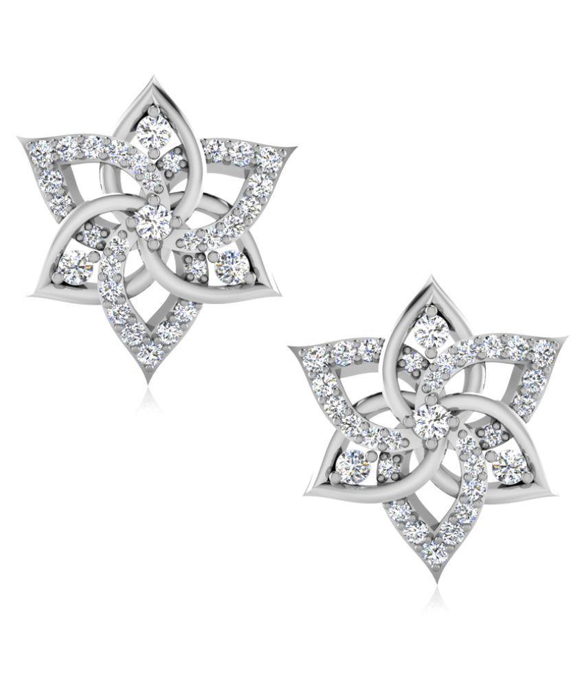NaginabyIskiUski 14k BIS Hallmarked White Gold Diamond Studs