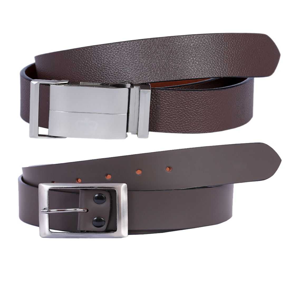 Kritika's World Brown Leather Casual Belts - Pack of 2