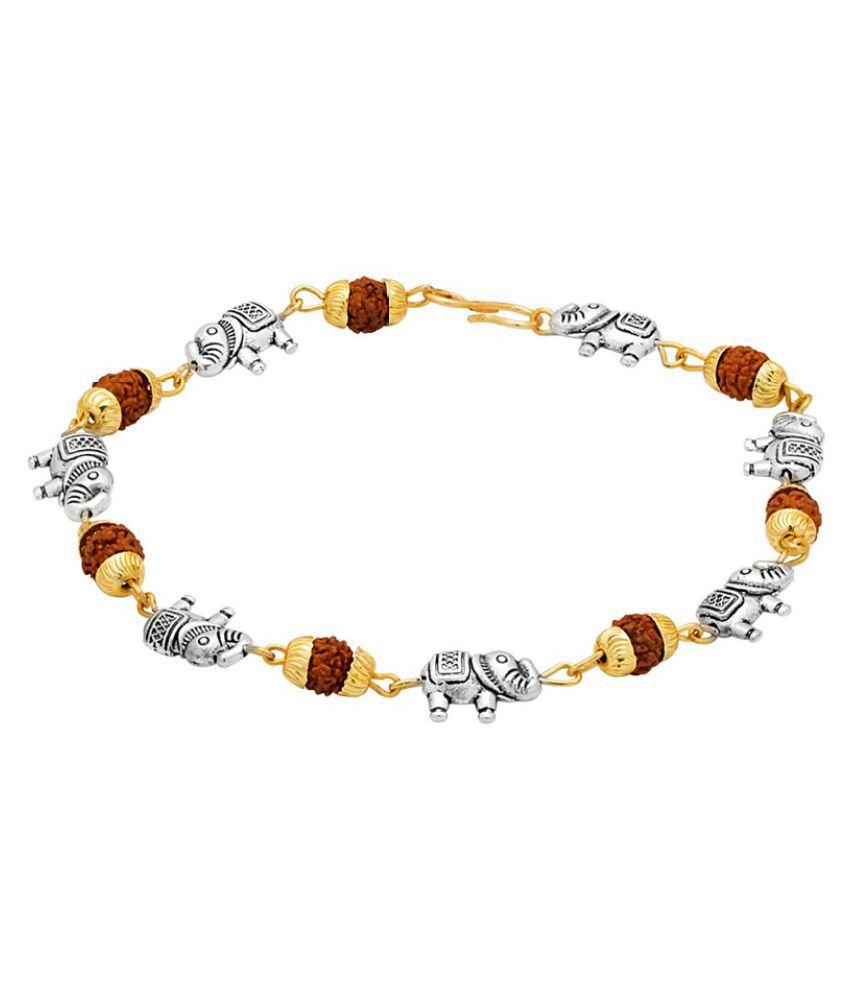 Dare Elephant Studded Rudraksha Bracelet For Men