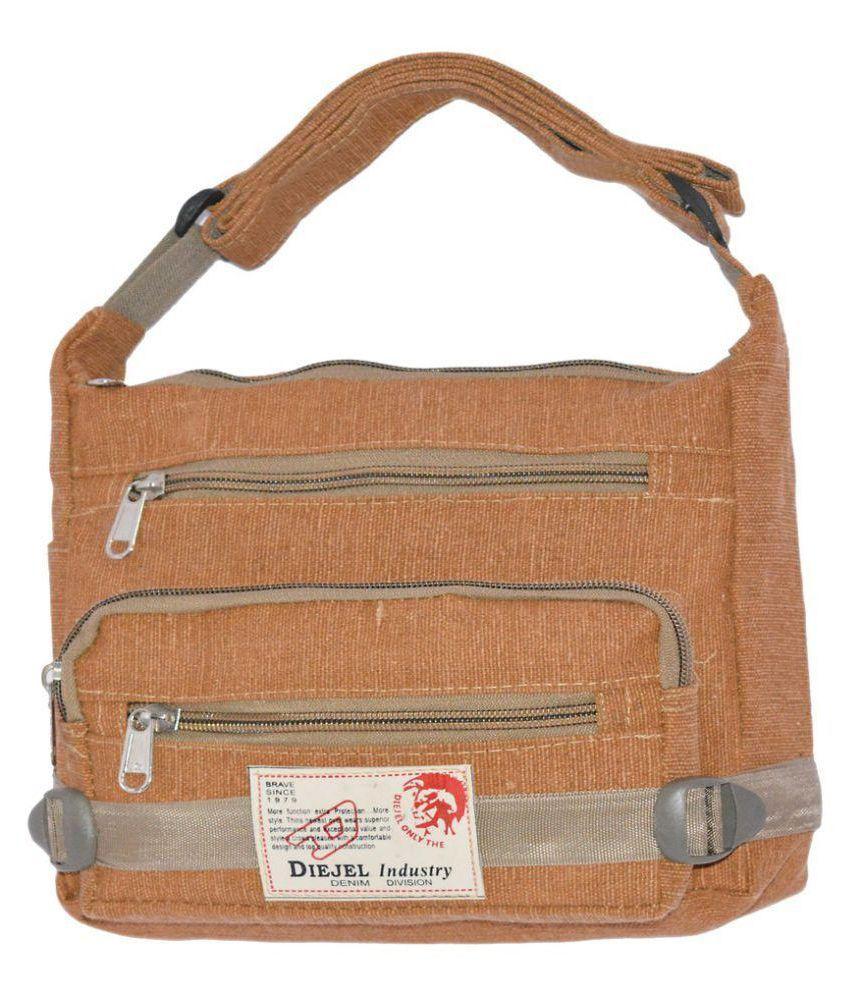 Quick Fashion Brown Polyster Sling Bag