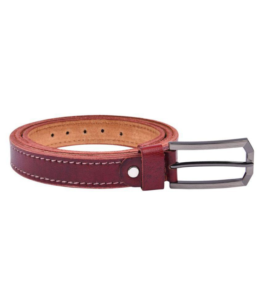 B&W Red Leather Casual Belts