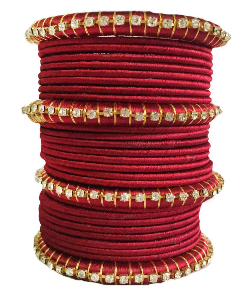 Kuhuk Maroon Silk Thread Plastic Bangle Set