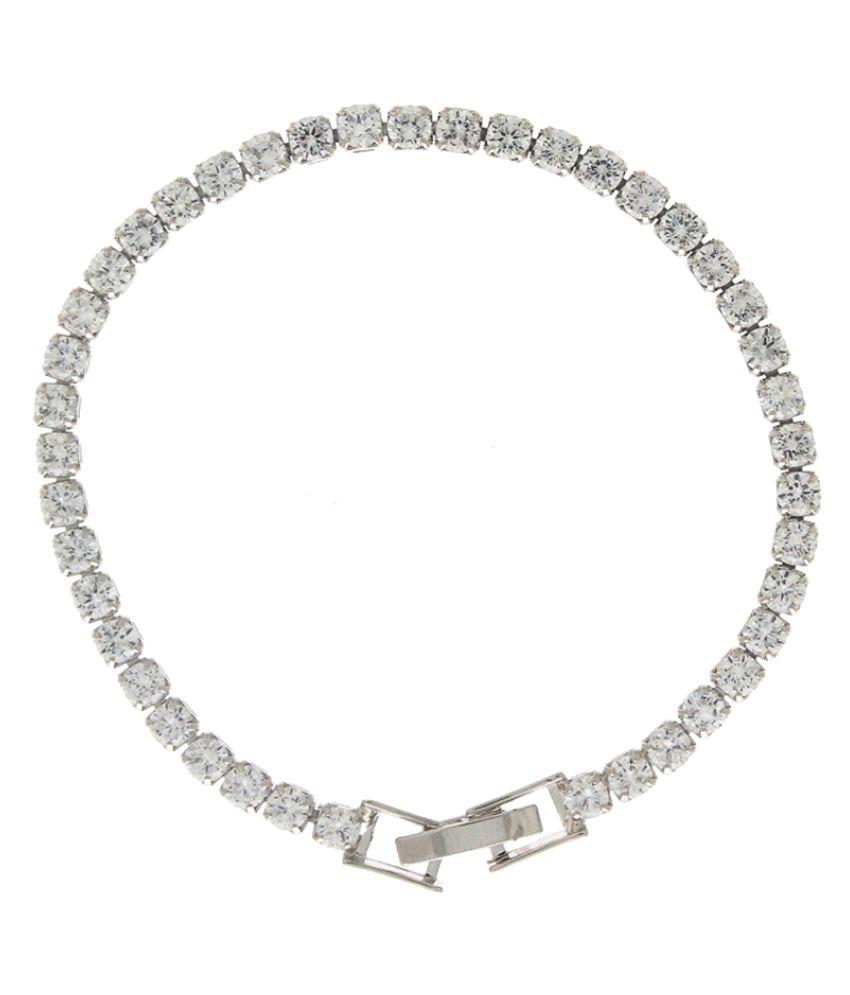 Anuradha Art Silver Tone Styled With Studded Classy Wonderful Bracelet For Women