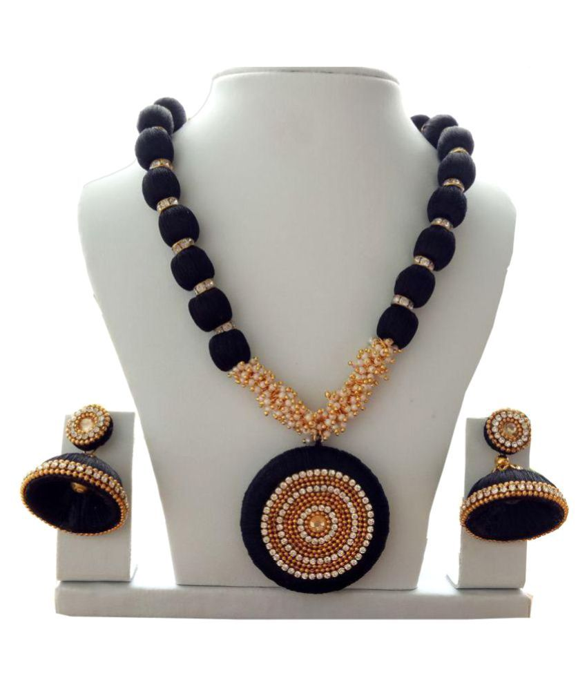 d30cba31cf Trendytrendy Silk Thread Black Long Haram Necklace Set - Buy Trendytrendy  Silk Thread Black Long Haram Necklace Set Online at Best Prices in India on  ...