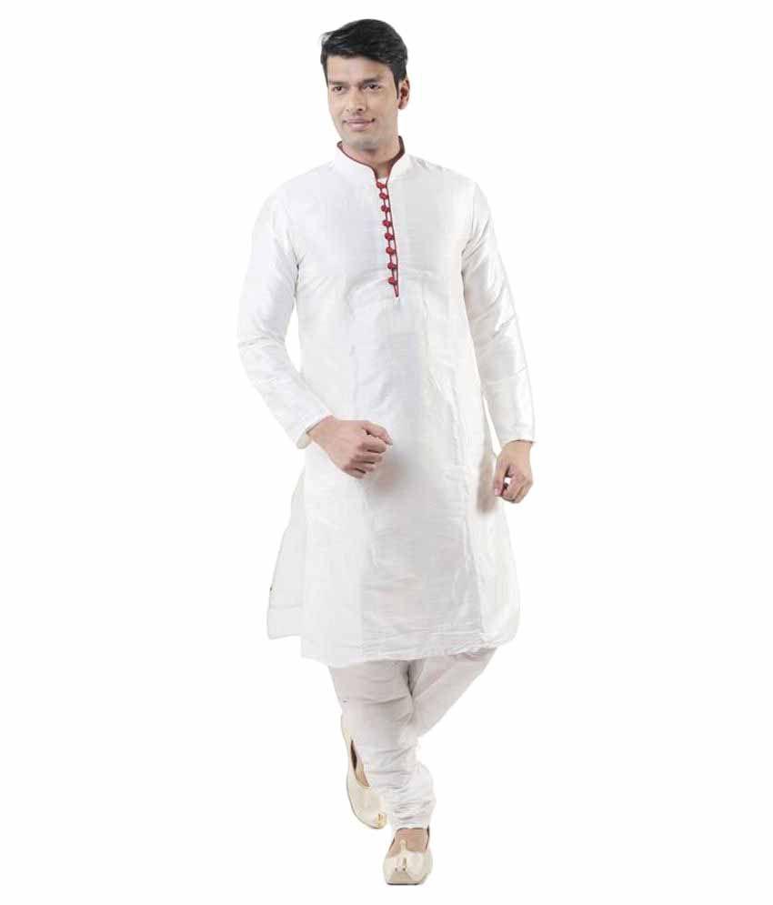 Larwa White Silk Kurta Pyjama Set
