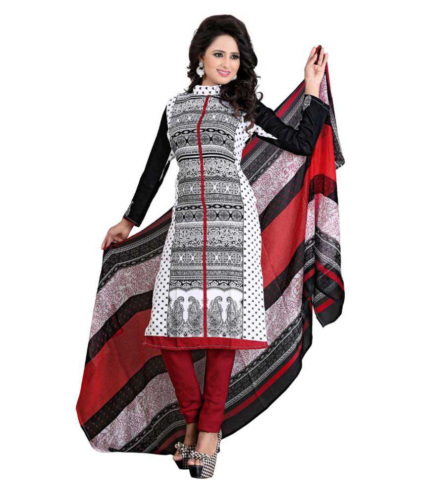Hi-Fashion Multicoloured Crepe Dress Material