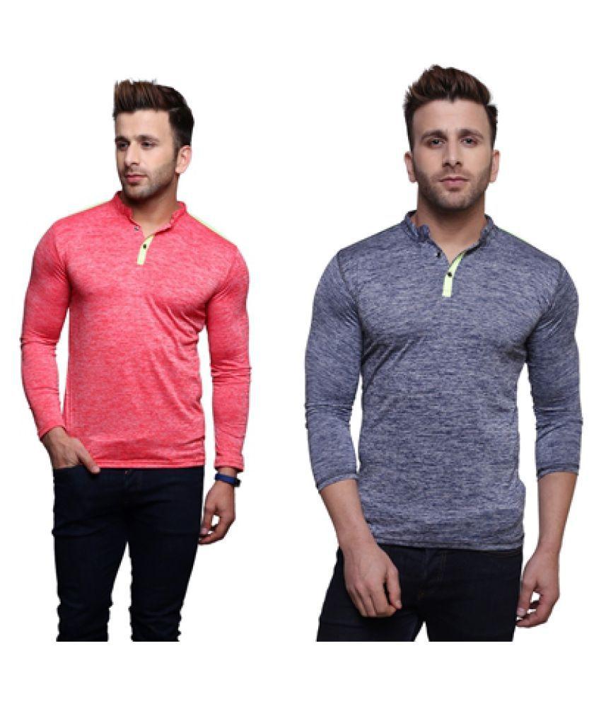 Nagru Multi Henley T-Shirt Pack of 2