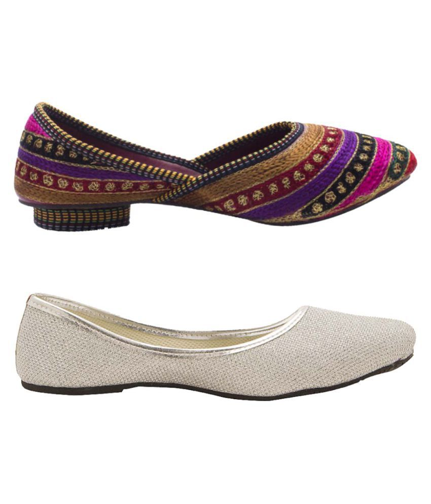Great Art Multi Color Flat Ethnic Footwear