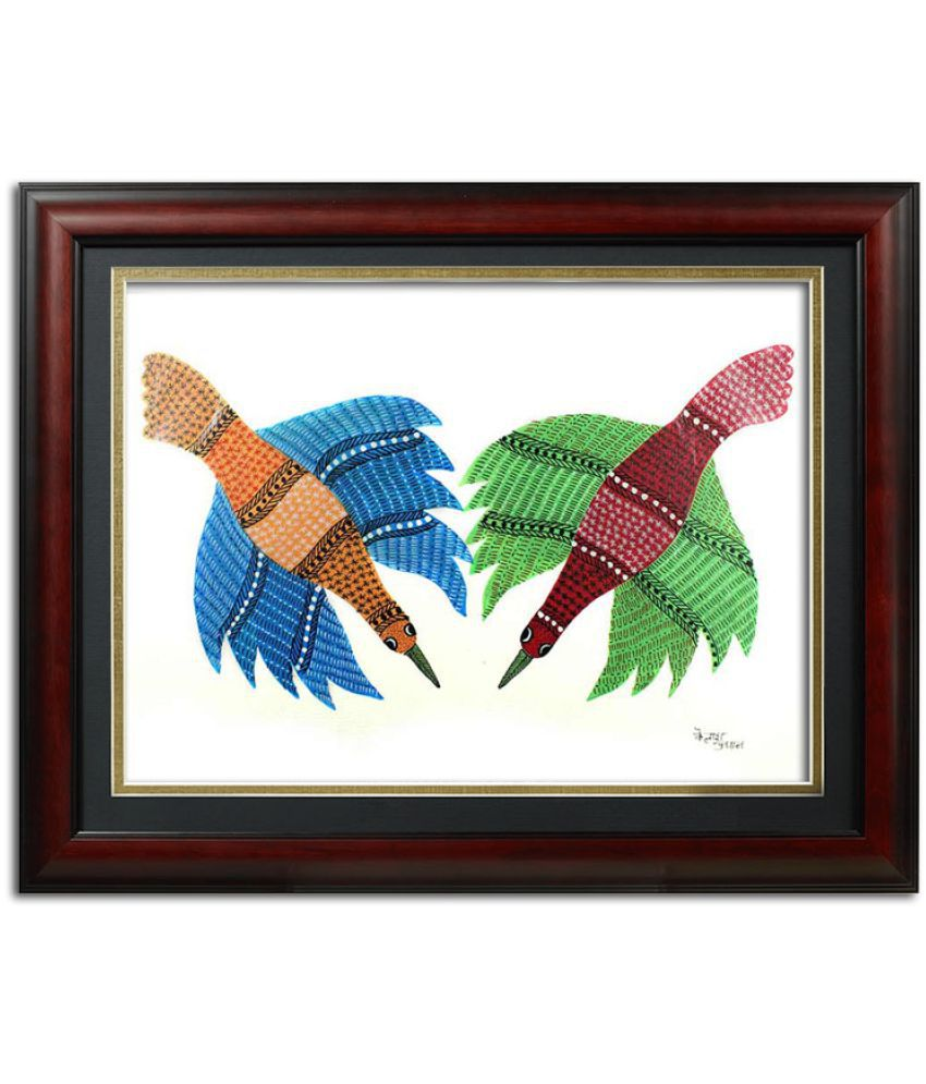 India Meets India Birds Gond Handmade Painting with Frame