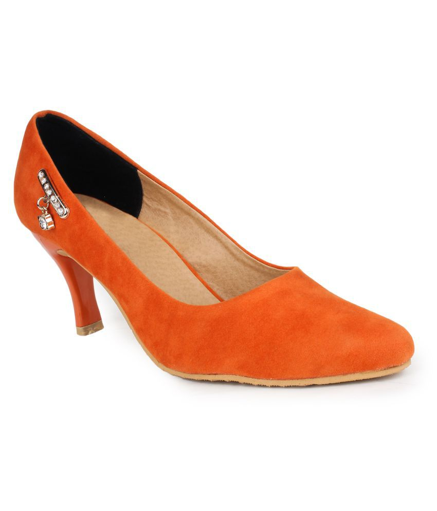 49615ff78550 Star Style Orange Kitten Heels available at SnapDeal for Rs.899