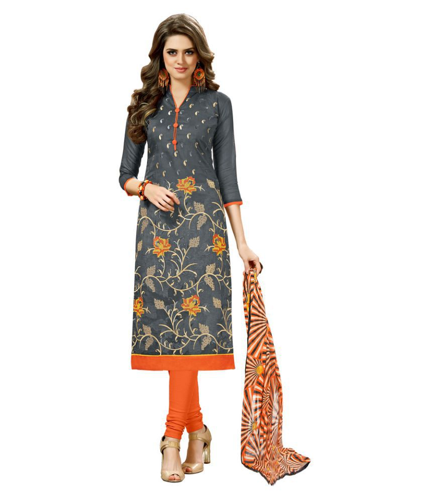 The Ethnic Chic Grey Chanderi Dress Material