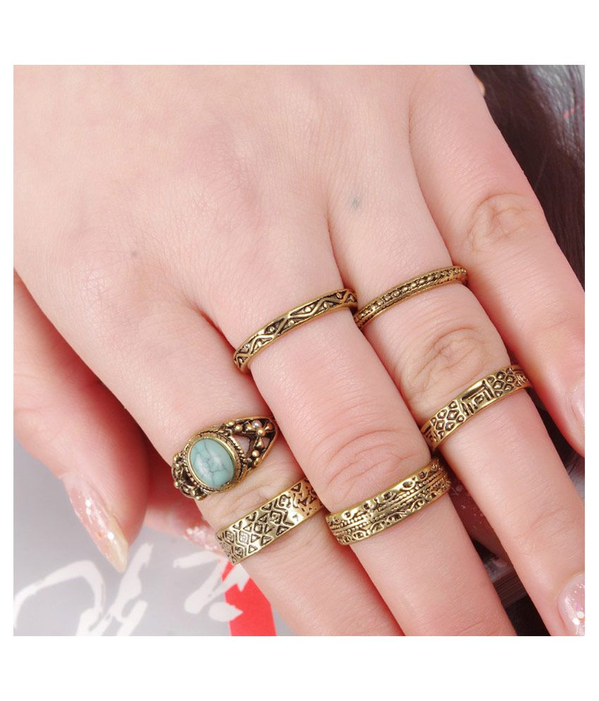 Young & Forever Tribal Muse Collection Golden Treasure Rings Set of ...