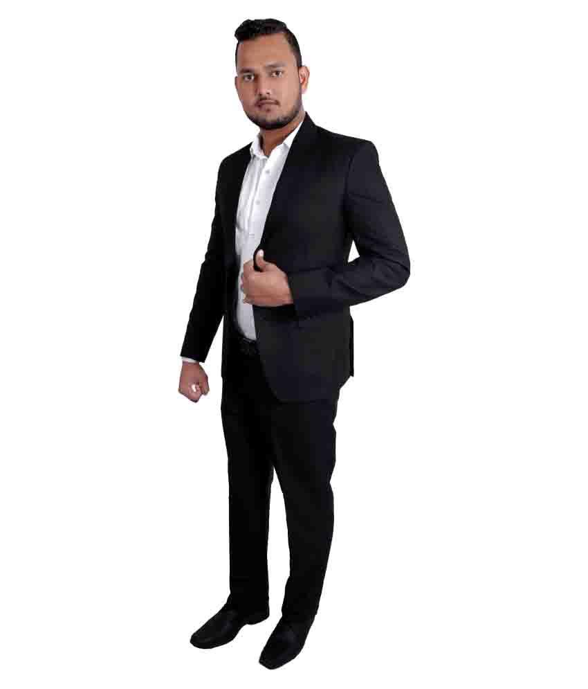 Jitu Enterprises Black Plain Formal 2 Piece Suits