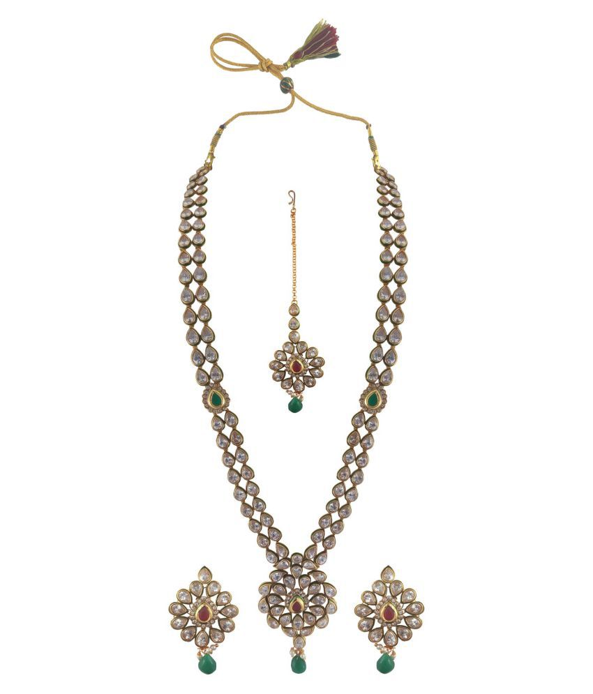 Rejewel Gold Plated Uncut Necklace Set with Manng Tikka for Women
