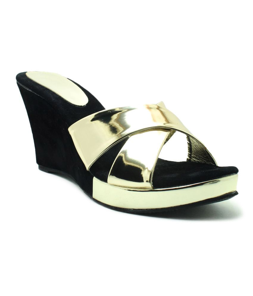 Plutos Gold Wedges Heels