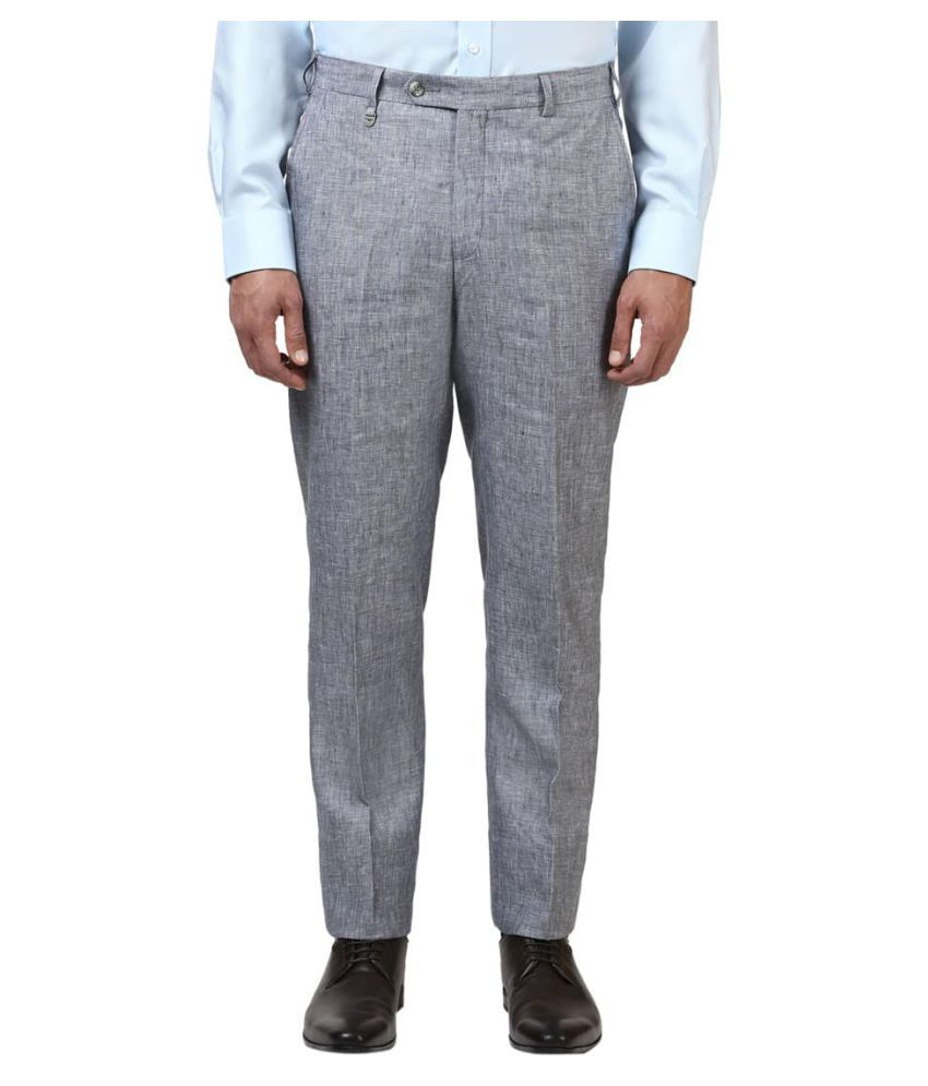 Park Avenue Grey Regular Flat Trousers