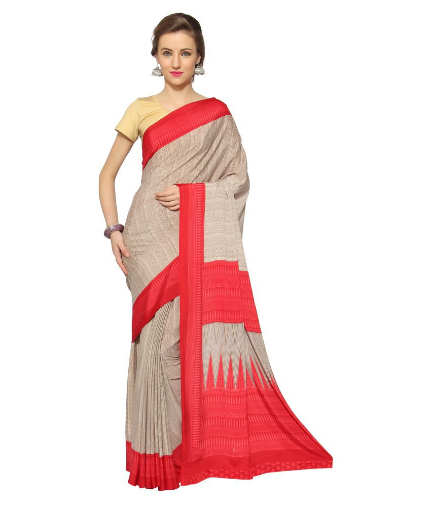 Blissta Beige Crepe Silk Saree