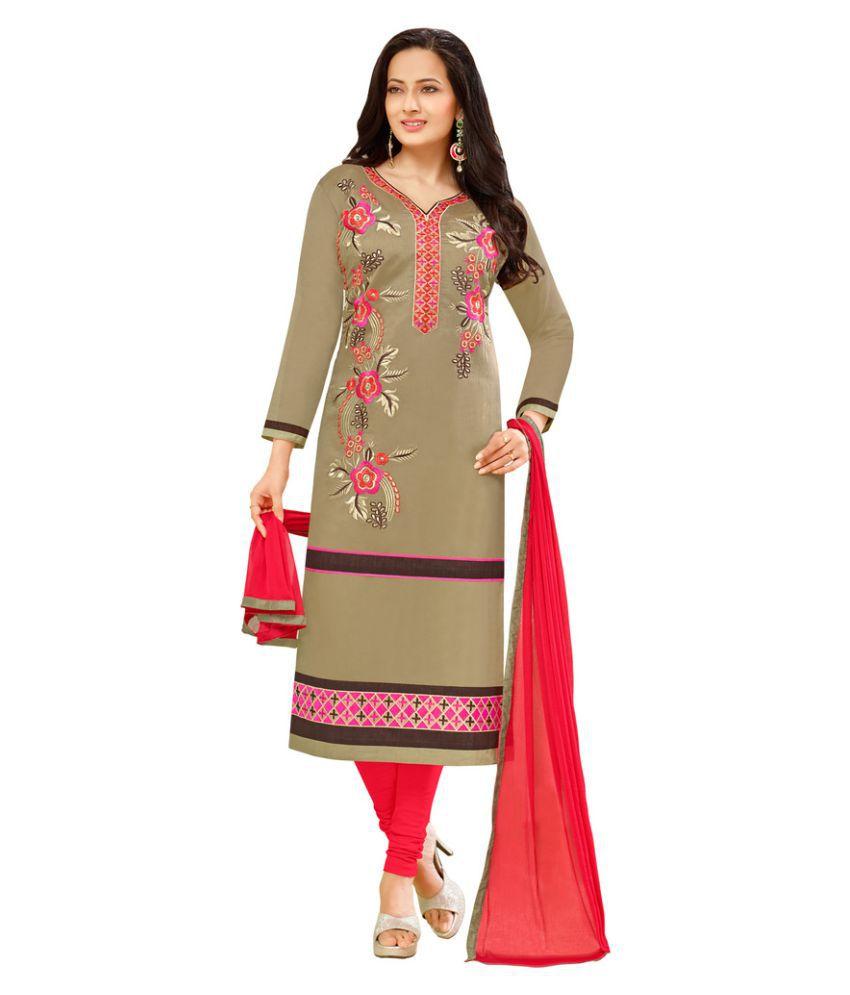 Saree Mall Brown Chanderi Dress Material