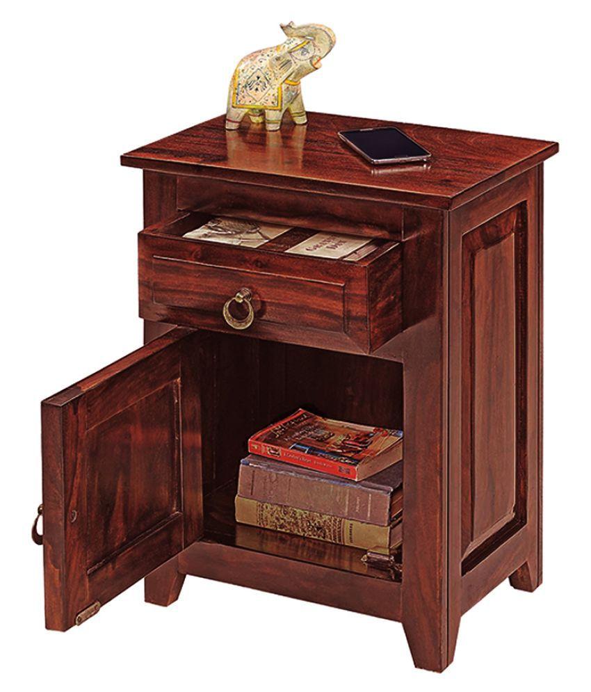 Inhouz Pannel Solid Wood Bedside Table