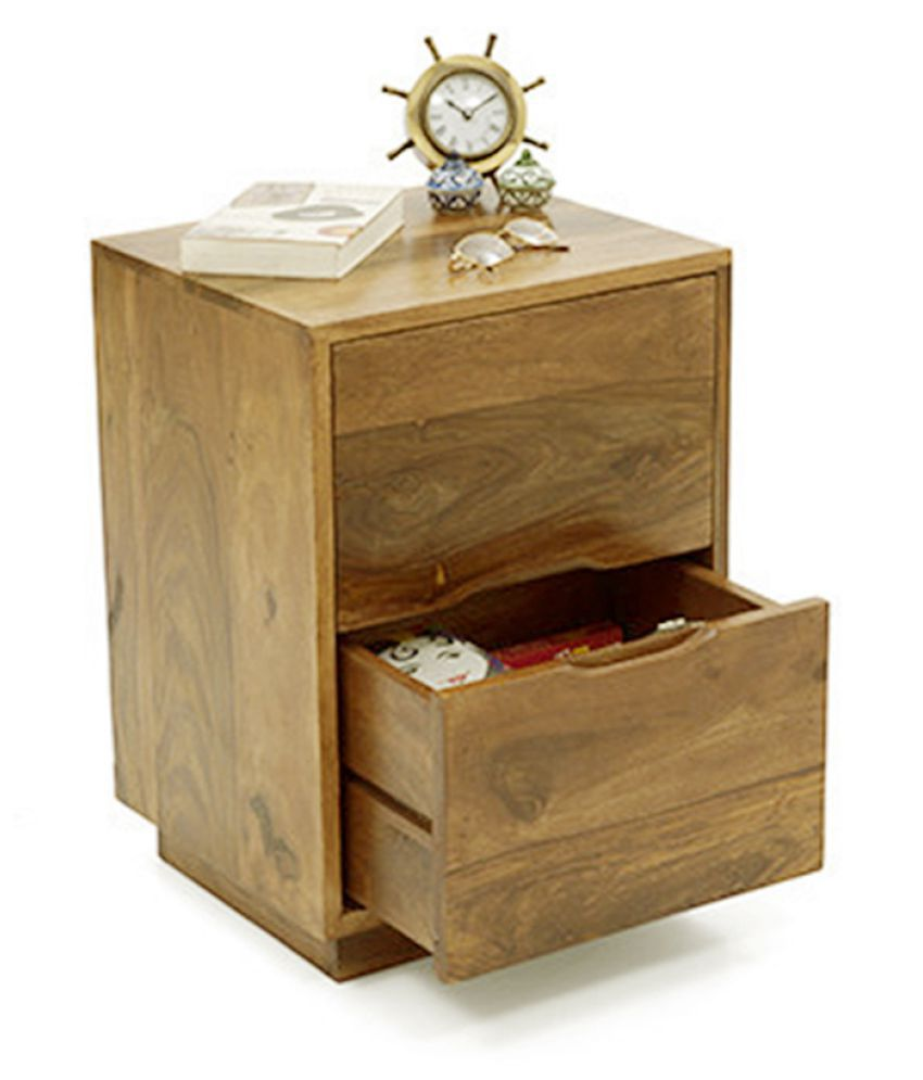 Inhouz Yephez Solid Wood Bedside Table