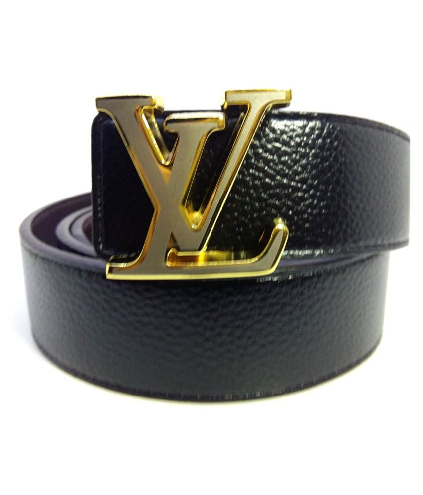 LV Belt Black Faux Leather Casual Belts