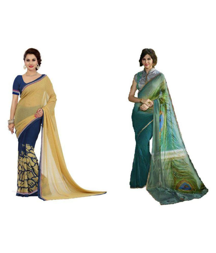 Bindani Studio Multicoloured Georgette Saree Combos