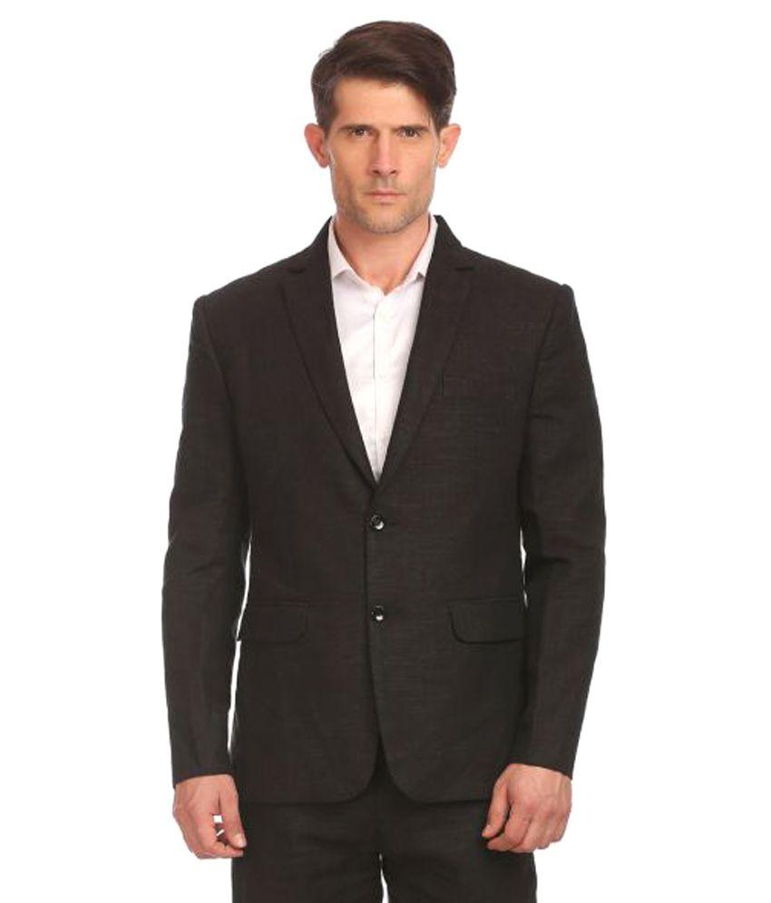 Wintage Black Solid Formal 2 Piece Suits