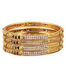 Zeneme Best Selleing Gold Plated Brass Bangles Jewellery For Women / Girls (2.4)