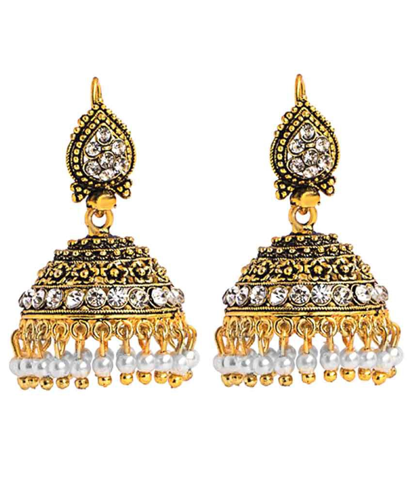 Three Shades Golden Jhumki Earrings