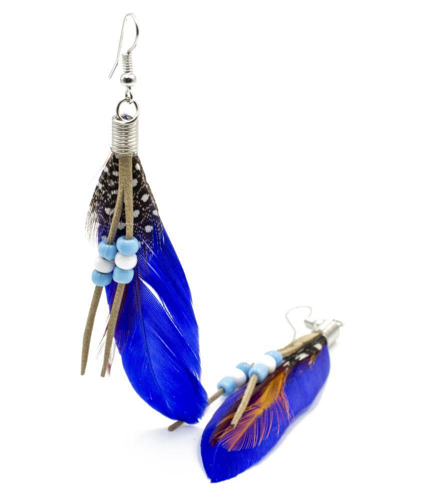 Three Shades Original Bird Feather Earrings