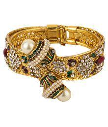 Zeneme American Diamond Gold Plated Bracelet For Women