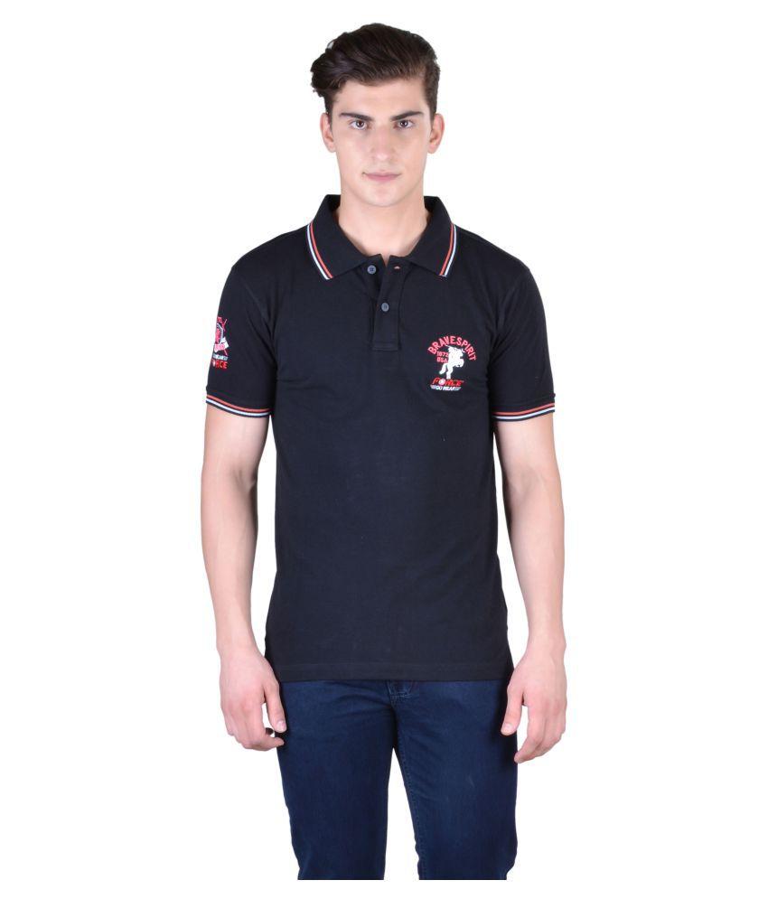 Force Go Wear Black Cotton Polo T-Shirt Single Pack