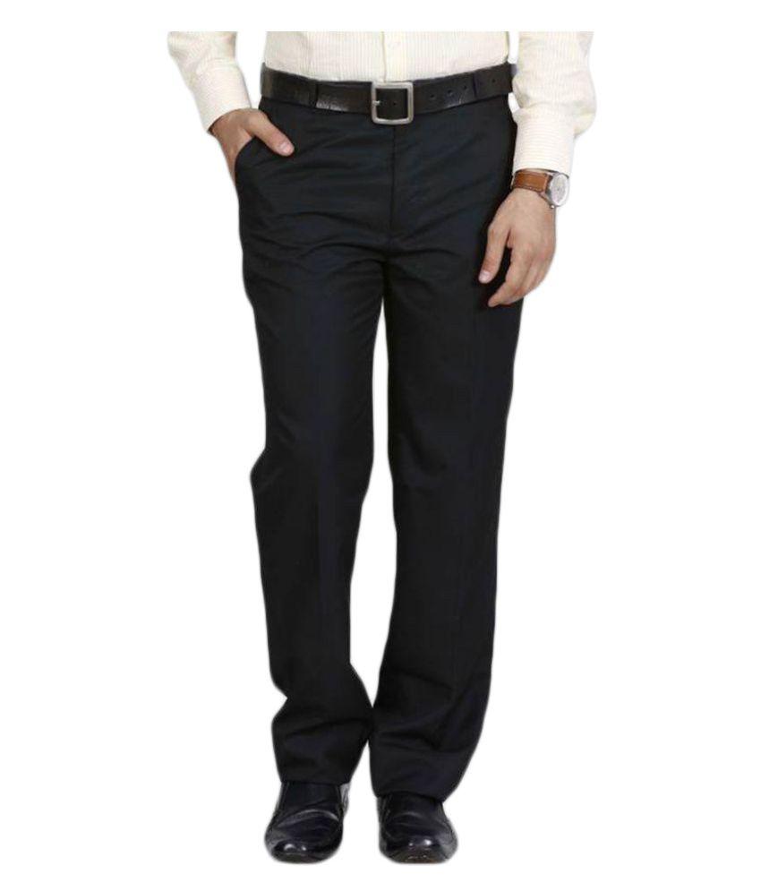 Mangal Black Regular Flat Trousers