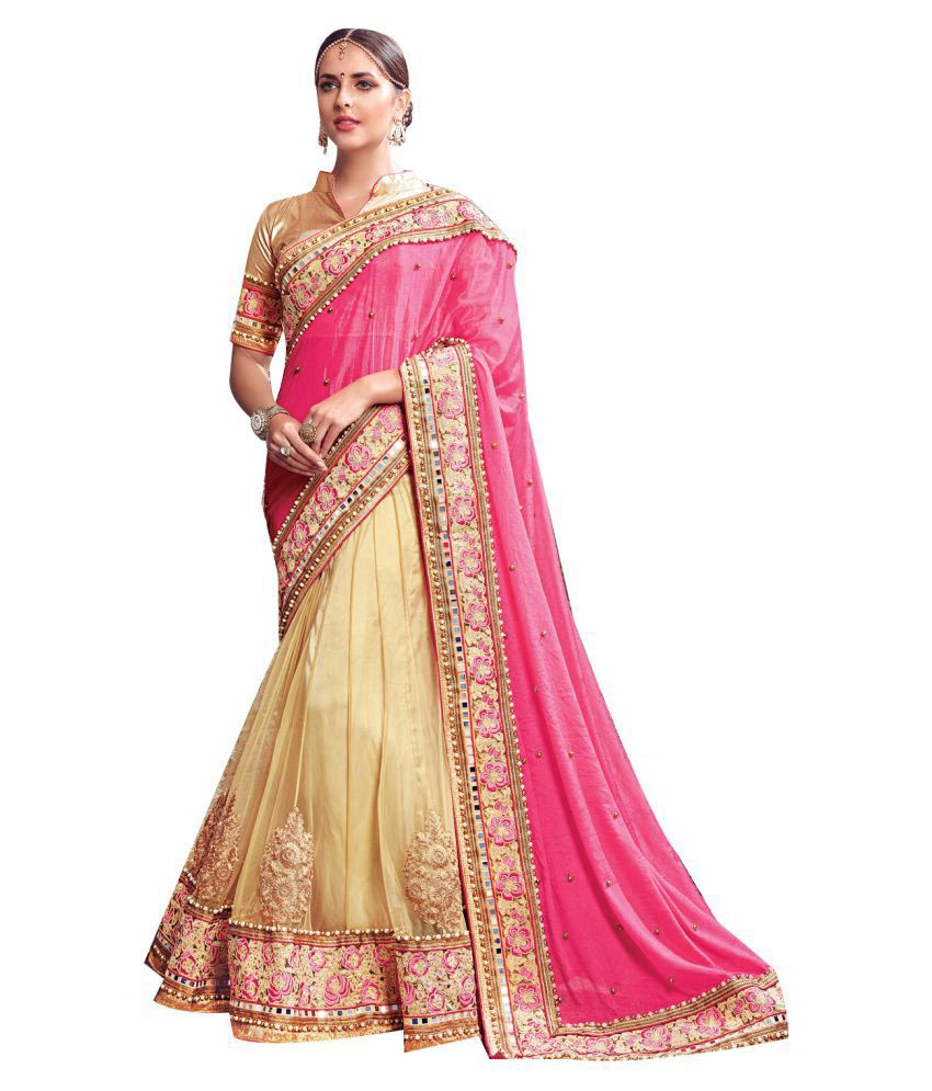 Shop Avenue Beige Chiffon Saree Available At Snapdeal For