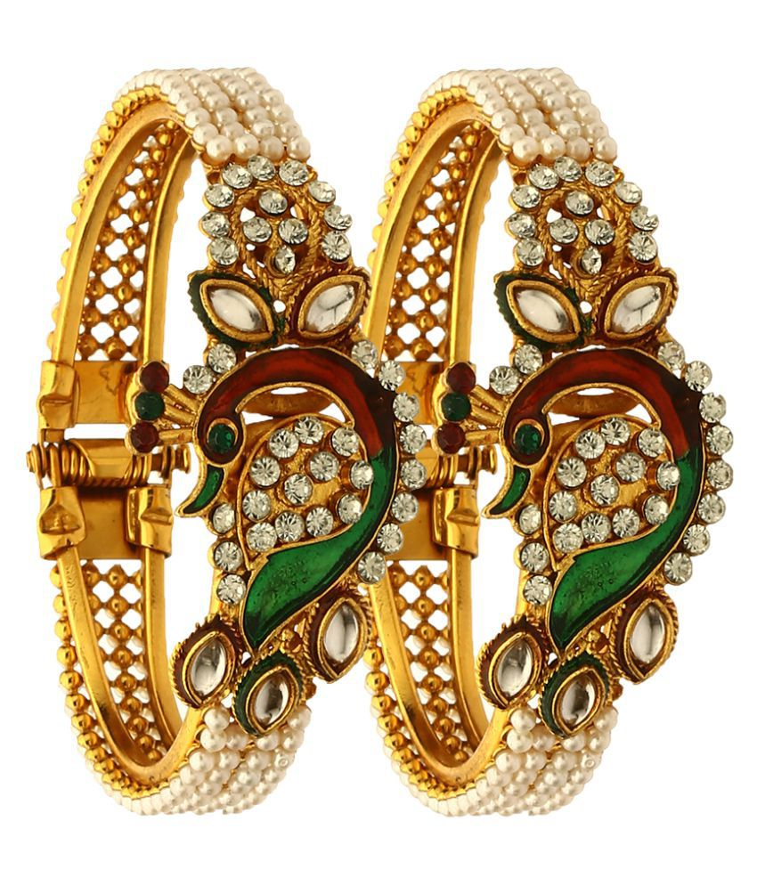 Zeneme Artificial Gold Plated Kada With Stone Work Bangle Set Of 2