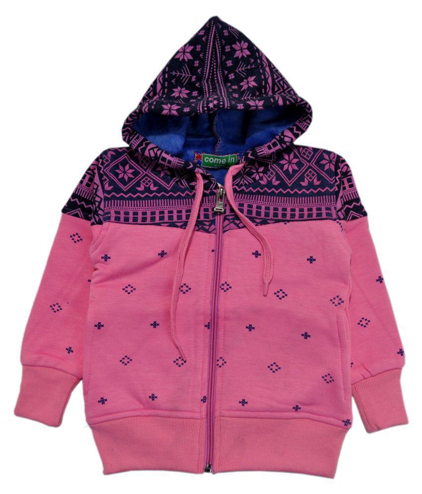 Come In Kids Pink Printed Sweatshirt