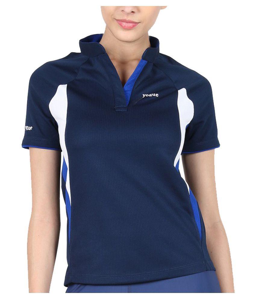 Yogue Navy Blue Marathon Collar T-Shirt