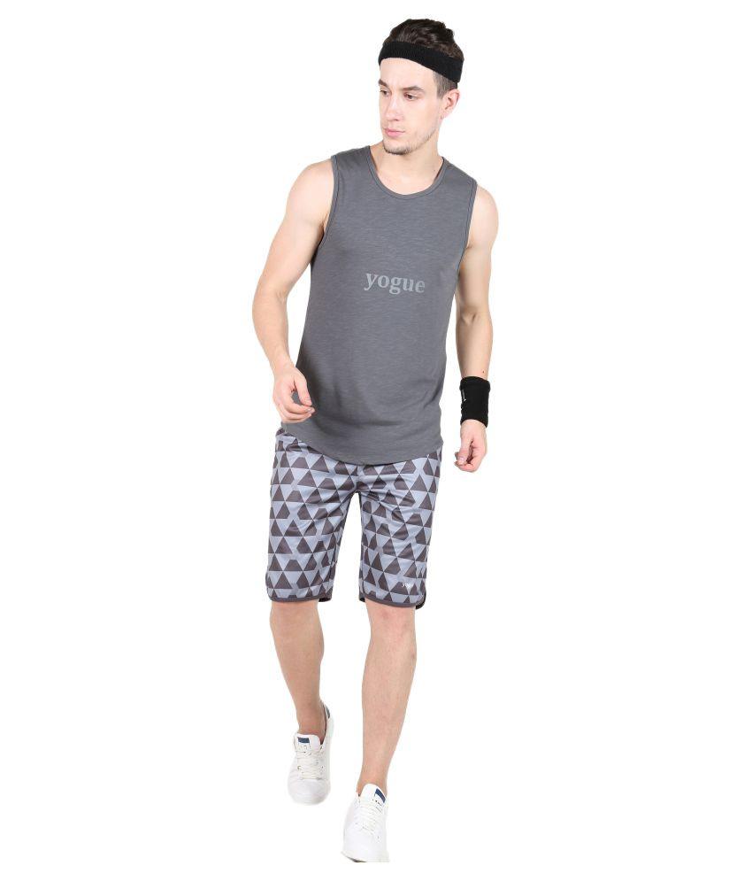 Yogue Grey Polyster Shorts