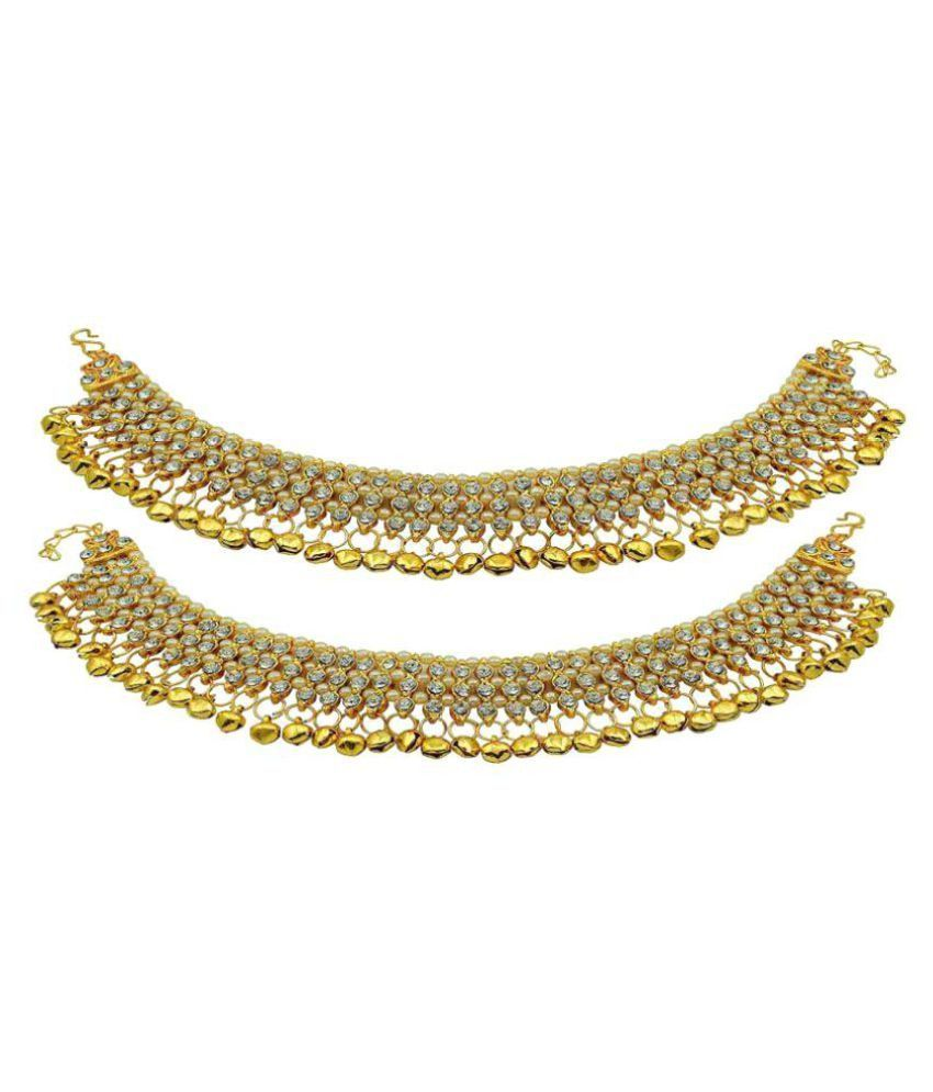 Jewels Gold Golden Alloy Anklet For Woman