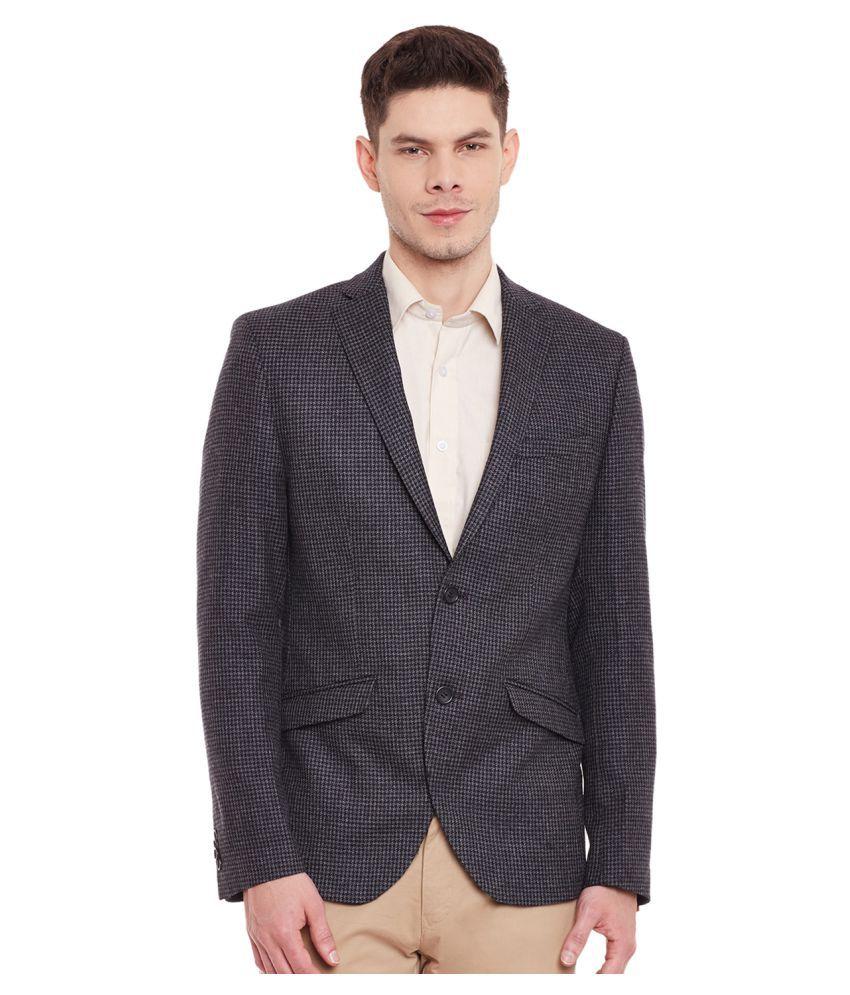 Envoy Grey Printed Casual Blazers