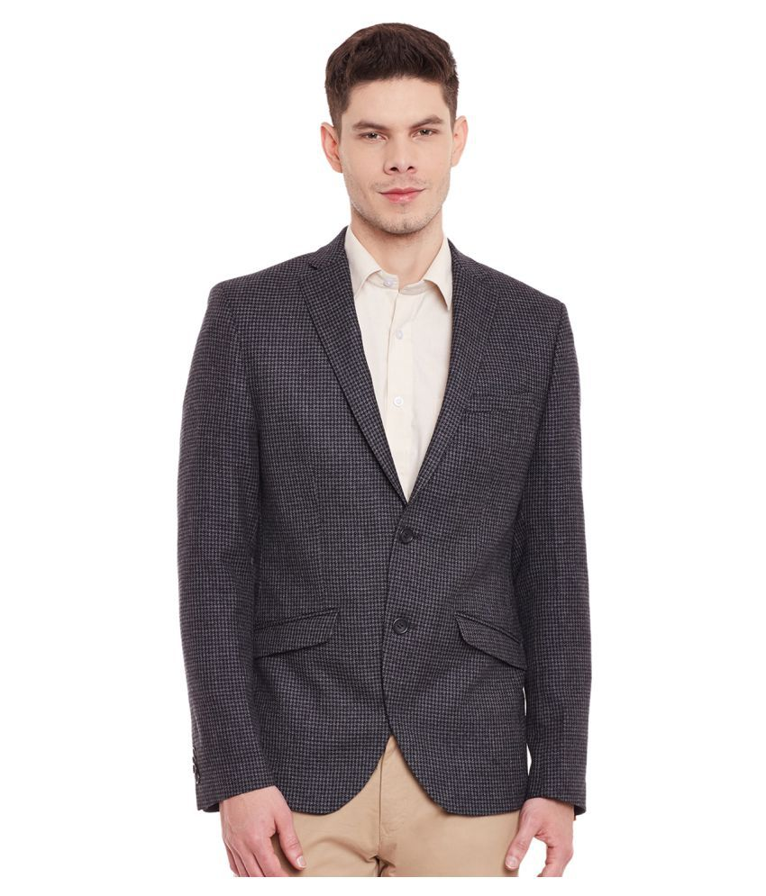 Envoy Grey Printed Casual Blazers